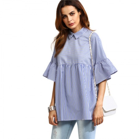 Plataus kirpimo, dryžuoti marškiniai (mėlyni)