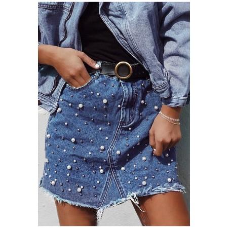 Džinsinis sijonas su perlais